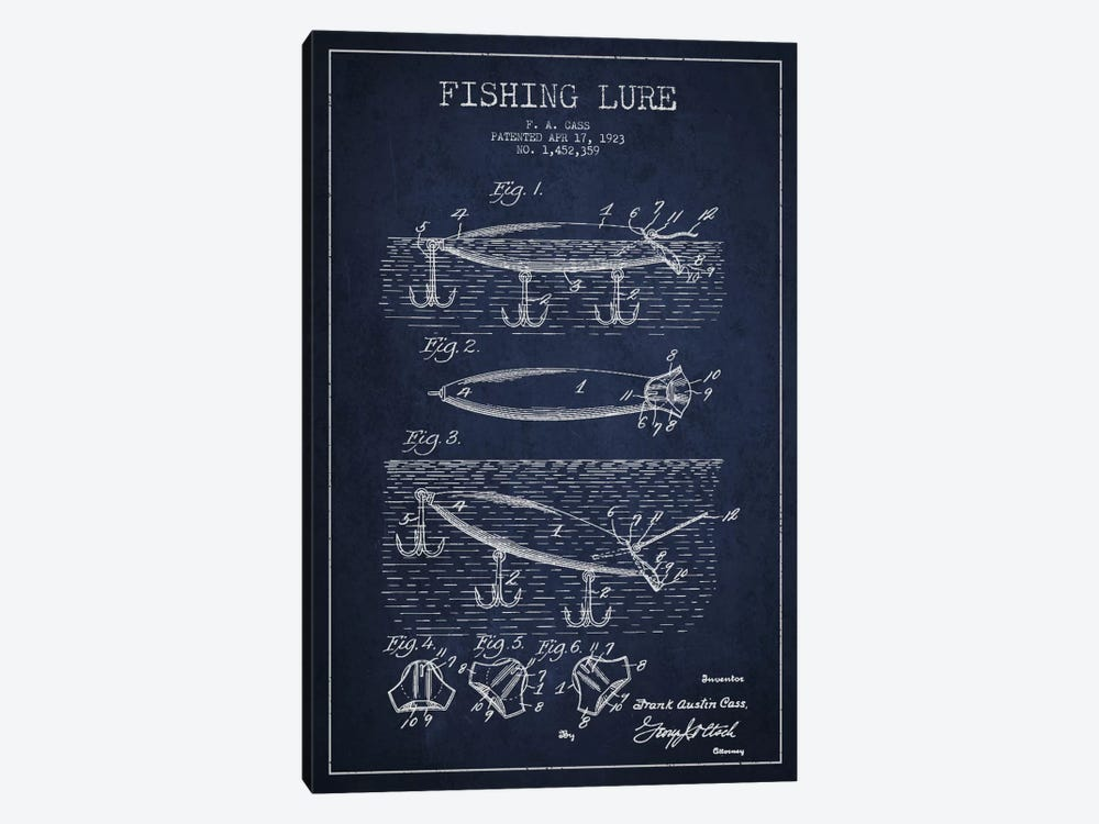 Fishing Tackle Navy Blue Patent Blueprint by Aged Pixel 1-piece Canvas Print