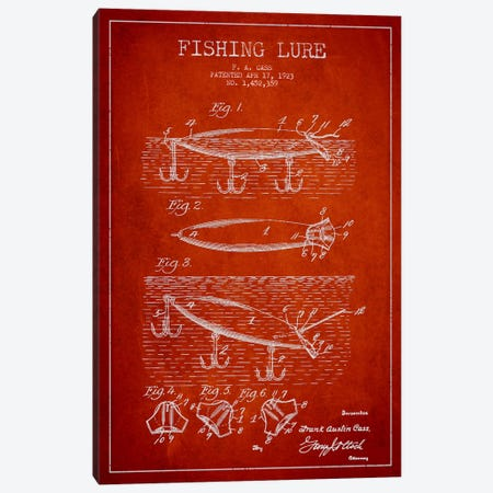 Fishing Tackle Red Patent Blueprint Canvas Print #ADP1172} by Aged Pixel Canvas Wall Art