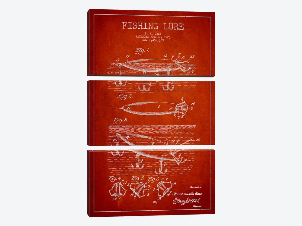 Fishing Tackle Red Patent Blueprint by Aged Pixel 3-piece Canvas Art
