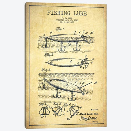 Fishing Tackle Vintage Patent Blueprint Canvas Print #ADP1173} by Aged Pixel Canvas Art
