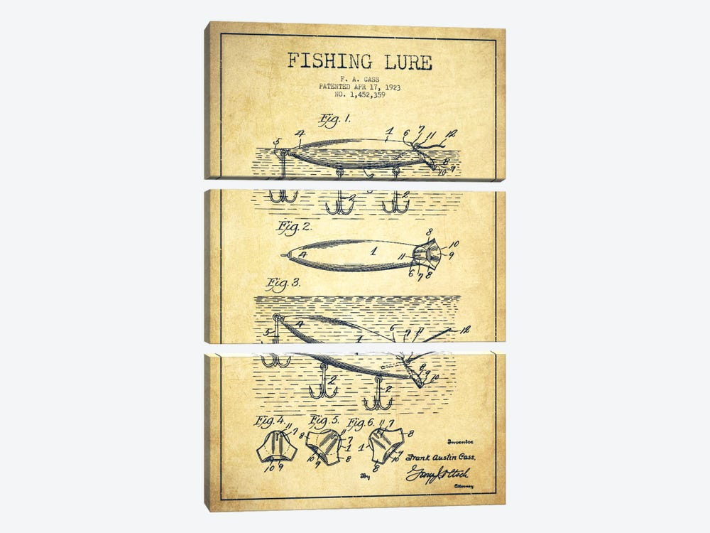 Fishing Tackle Vintage Patent Blueprint by Aged Pixel 3-piece Canvas Art Print