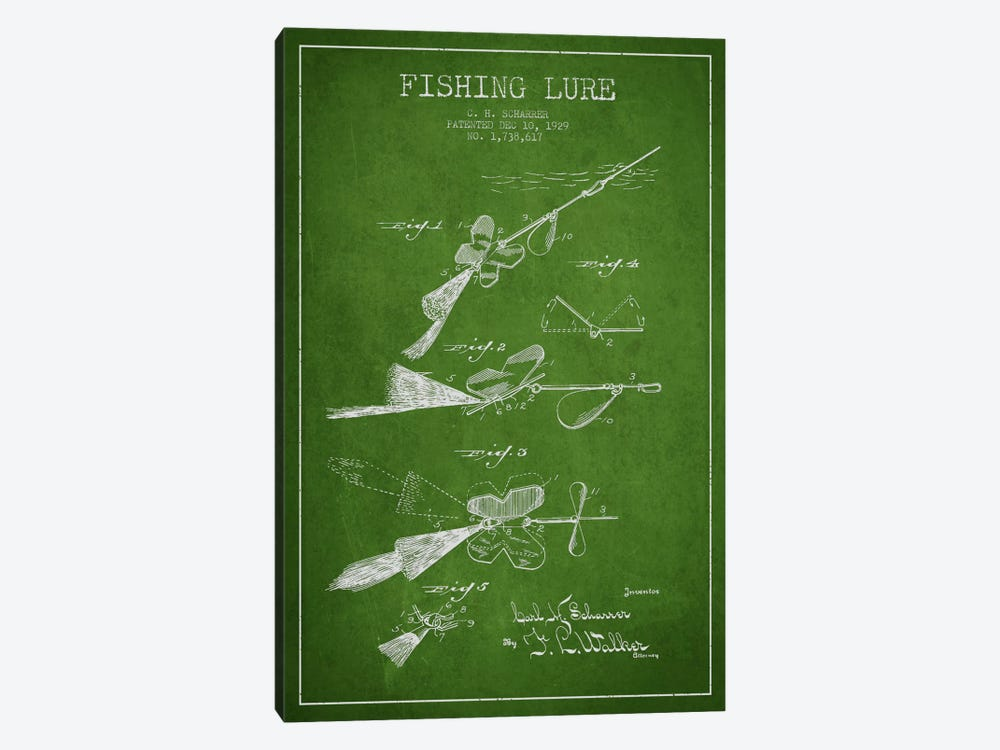 Fishing Tackle Green Patent Blueprint 1-piece Canvas Art Print