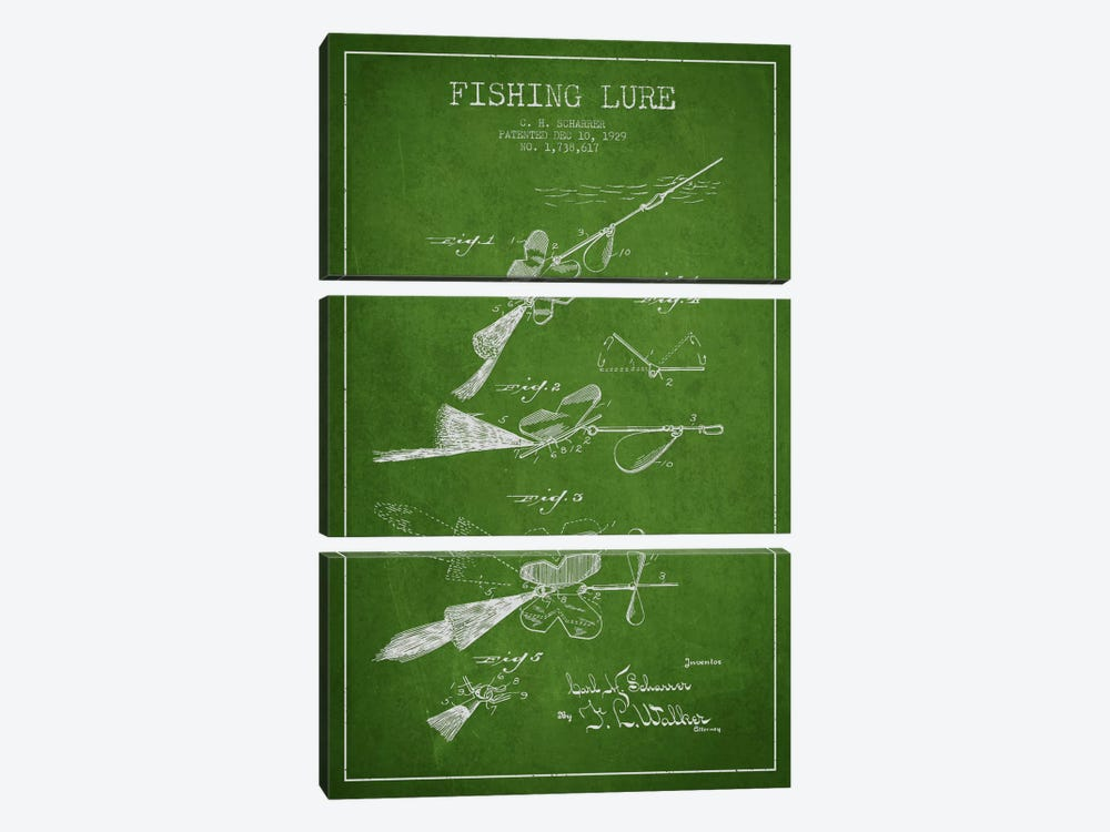 Fishing Tackle Green Patent Blueprint by Aged Pixel 3-piece Art Print