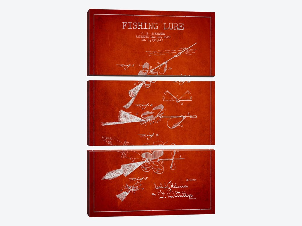 Fishing Tackle Red Patent Blueprint 3-piece Canvas Print