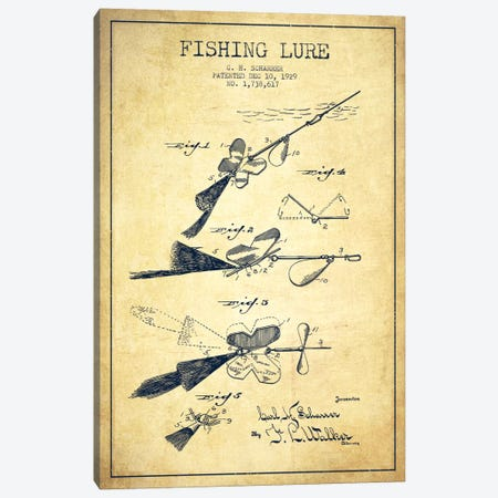 Fishing Tackle Vintage Patent Blueprint Canvas Print #ADP1178} by Aged Pixel Canvas Artwork