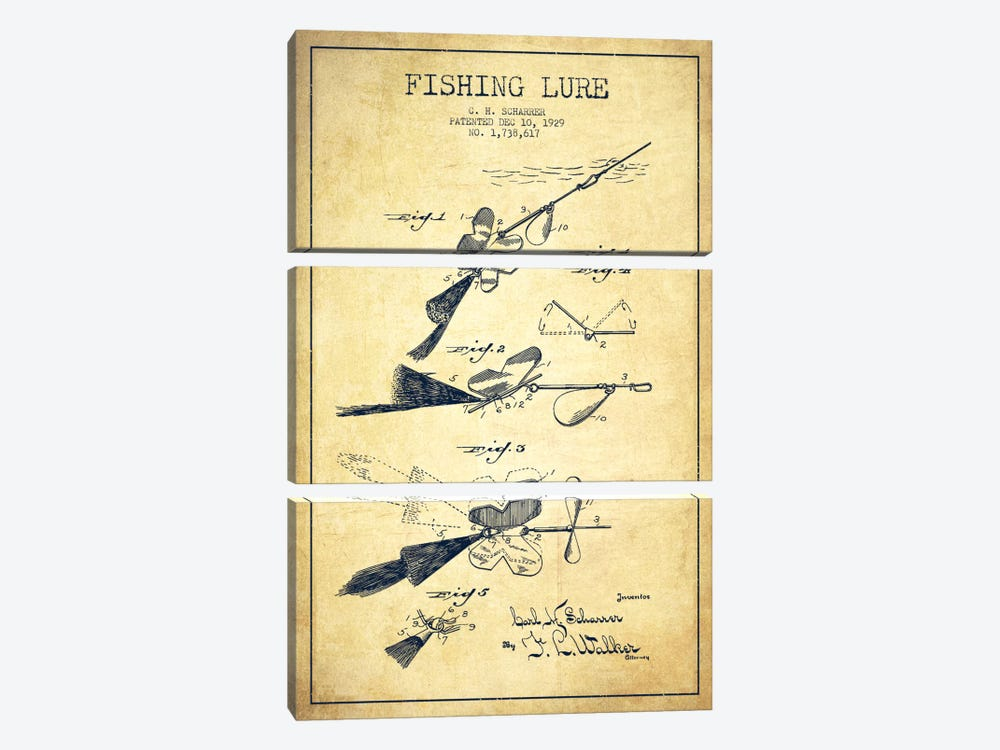 Fishing Tackle Vintage Patent Blueprint by Aged Pixel 3-piece Canvas Artwork