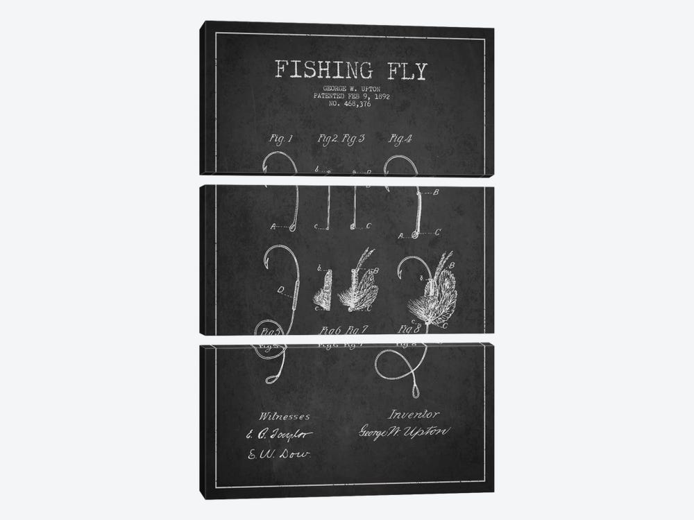Fishing Tackle Dark Patent Blueprint by Aged Pixel 3-piece Canvas Art Print