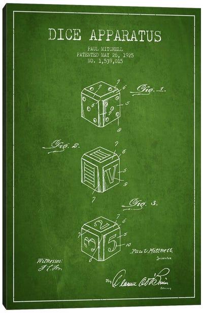 Dice Green Patent Blueprint Canvas Print #ADP117