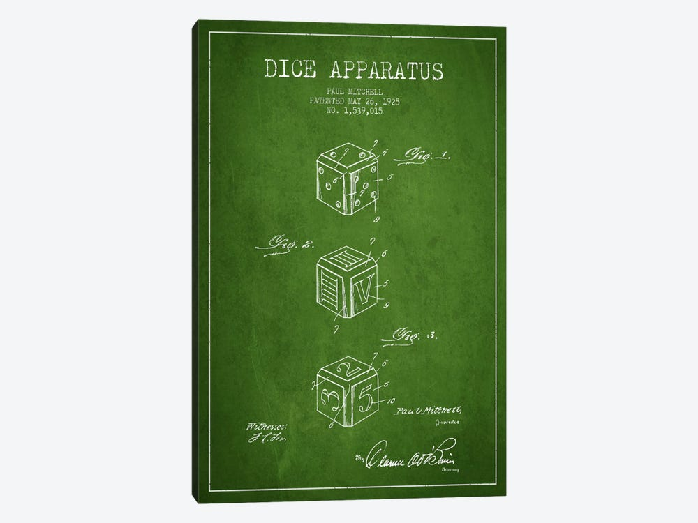 Dice Green Patent Blueprint by Aged Pixel 1-piece Canvas Artwork