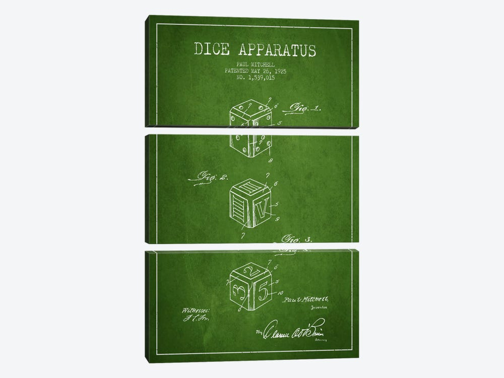 Dice Green Patent Blueprint by Aged Pixel 3-piece Canvas Art