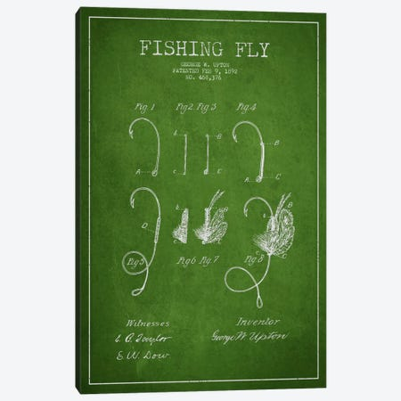 Fishing Tackle Green Patent Blueprint Canvas Print #ADP1180} by Aged Pixel Canvas Print
