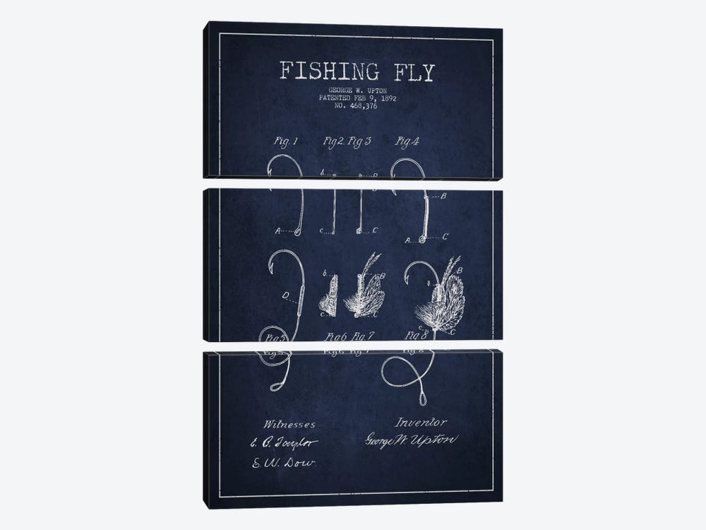 Fishing Tackle Navy Blue Patent Blueprint by Aged Pixel 3-piece Canvas Wall Art