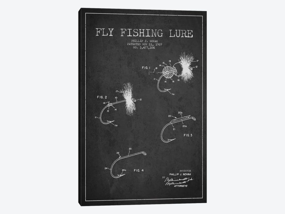 Fishing Tackle Dark Patent Blueprint by Aged Pixel 1-piece Canvas Print