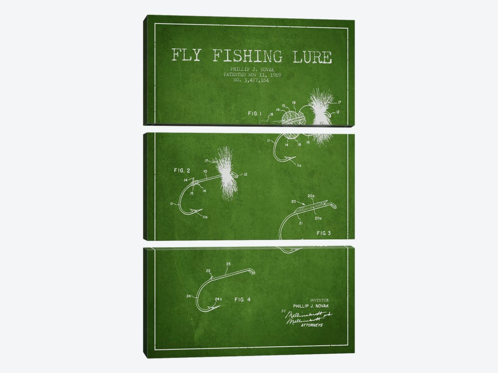 Fishing Tackle Green Patent Blueprint by Aged Pixel 3-piece Canvas Art
