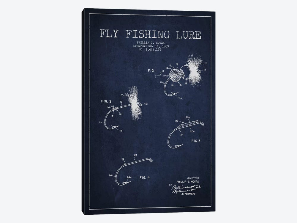 Fishing Tackle Navy Blue Patent Blueprint by Aged Pixel 1-piece Art Print