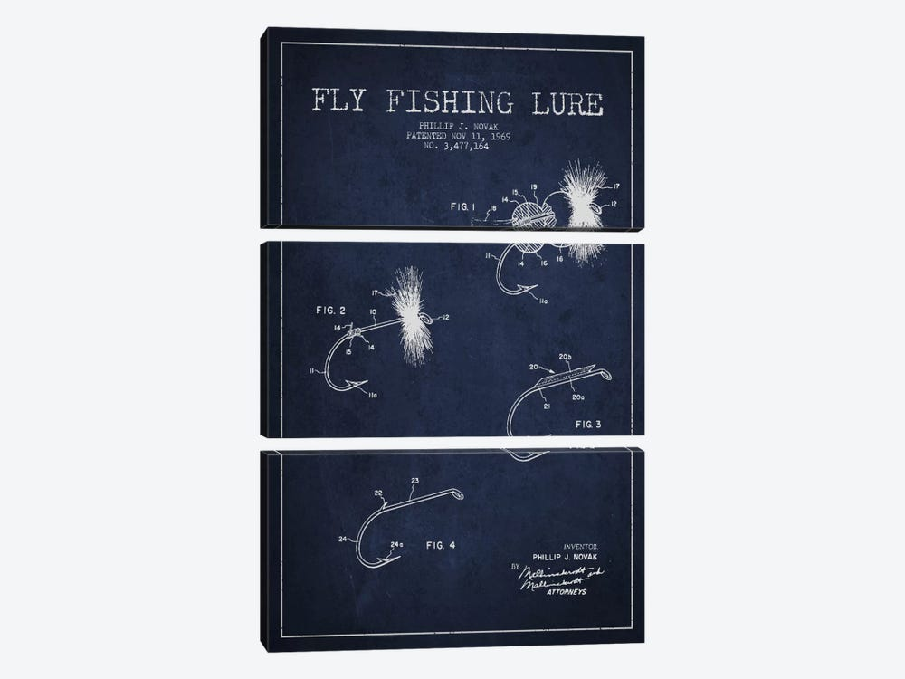 Fishing Tackle Navy Blue Patent Blueprint by Aged Pixel 3-piece Canvas Art Print