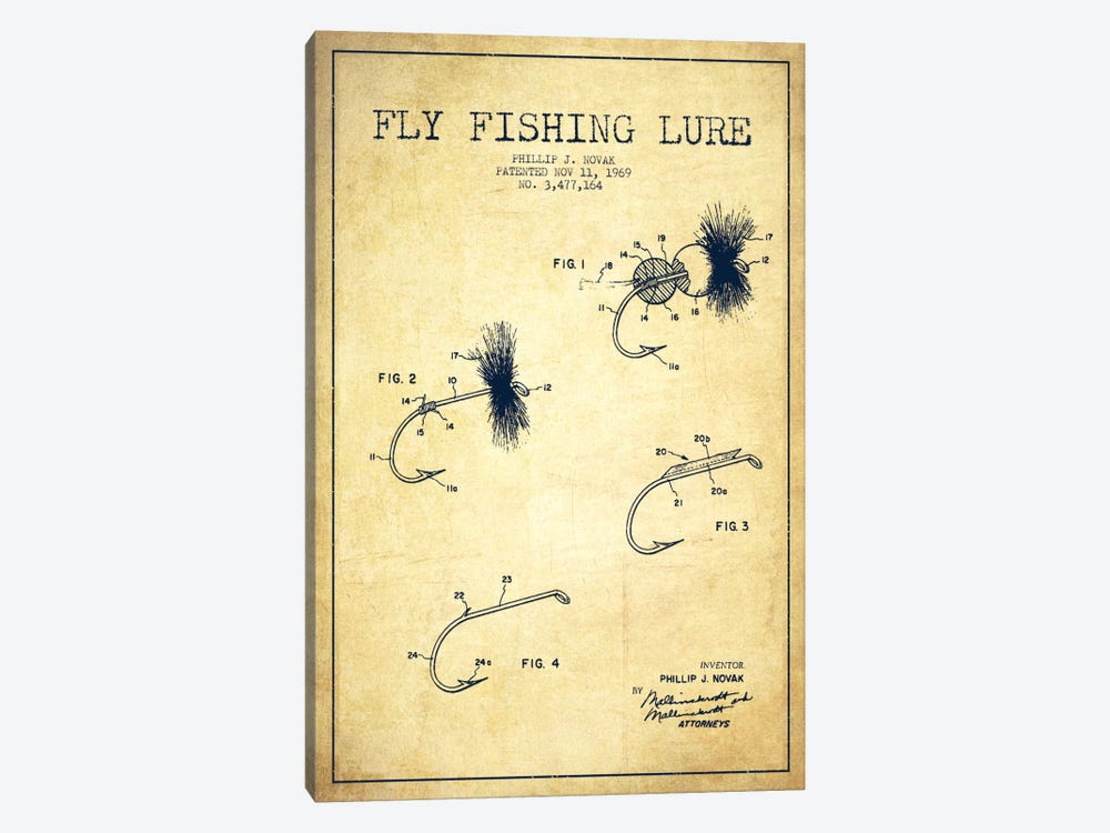 Fishing Tackle Vintage Patent Blueprint by Aged Pixel 1-piece Canvas Print