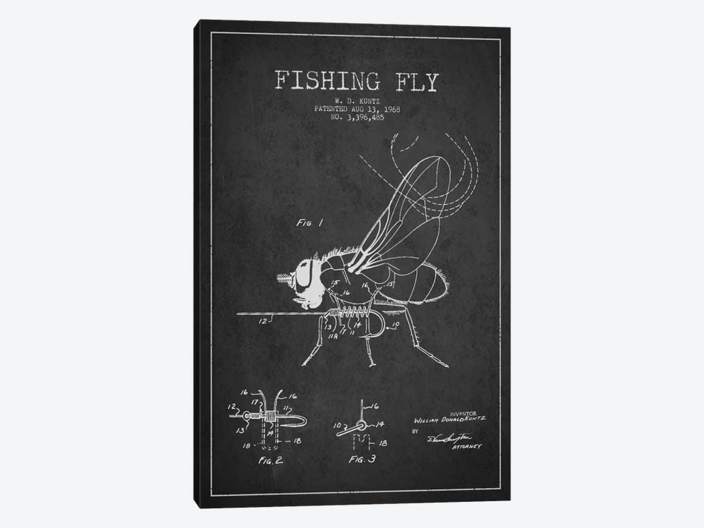 Fishing Tackle Dark Patent Blueprint by Aged Pixel 1-piece Canvas Art