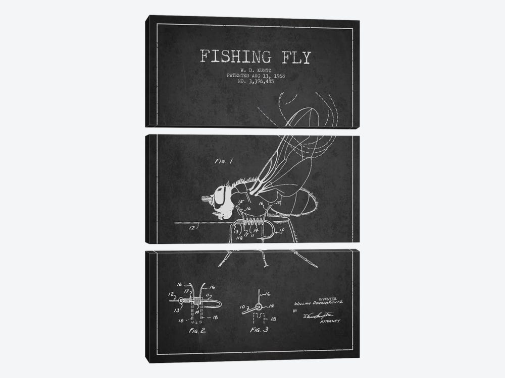 Fishing Tackle Dark Patent Blueprint by Aged Pixel 3-piece Canvas Wall Art