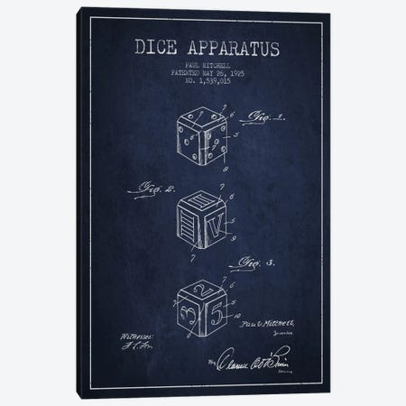 Dice Navy Blue Patent Blueprint Canvas Print #ADP118} by Aged Pixel Canvas Print