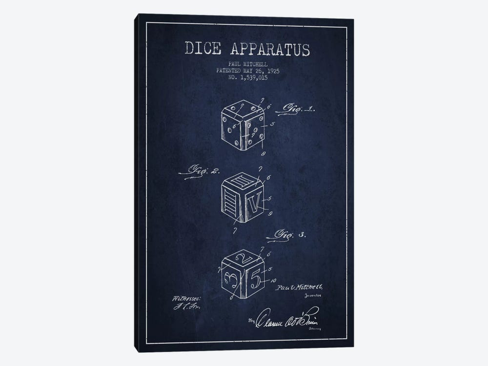 Dice Navy Blue Patent Blueprint by Aged Pixel 1-piece Art Print