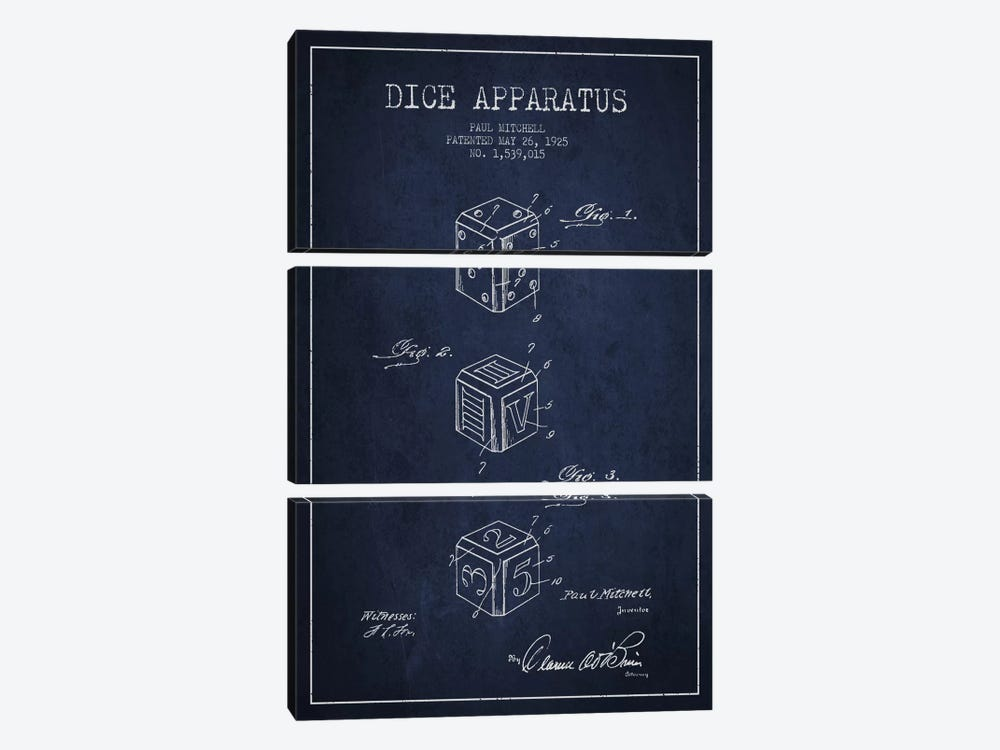 Dice Navy Blue Patent Blueprint by Aged Pixel 3-piece Canvas Art Print