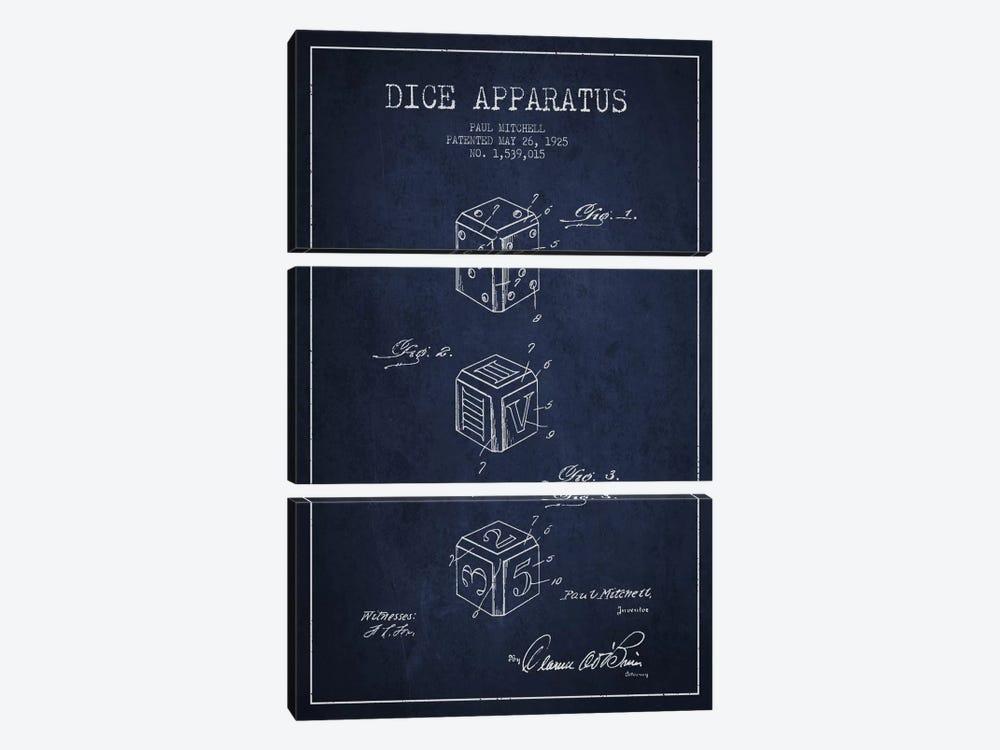 Dice Navy Blue Patent Blueprint by Aged Pixel 3-piece Canvas Art Print
