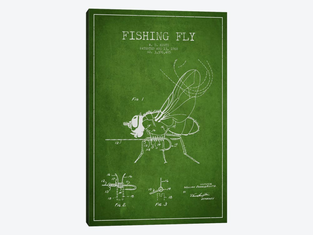 Fishing Tackle Green Patent Blueprint 1-piece Canvas Artwork