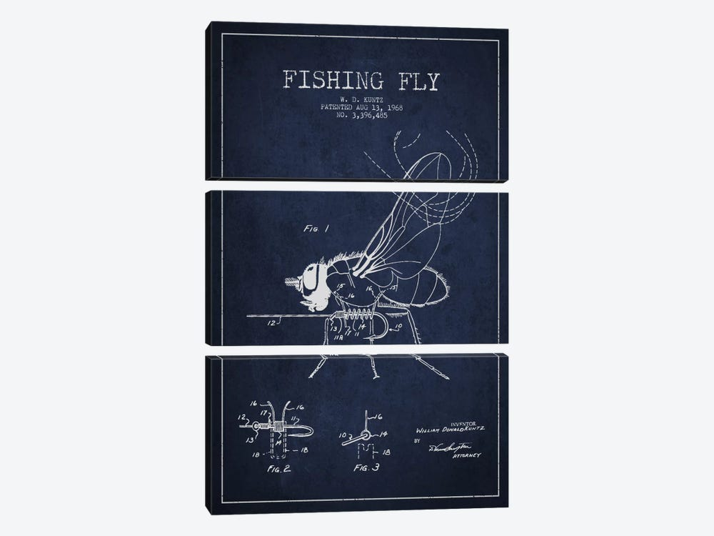 Fishing Tackle Navy Blue Patent Blueprint by Aged Pixel 3-piece Canvas Print
