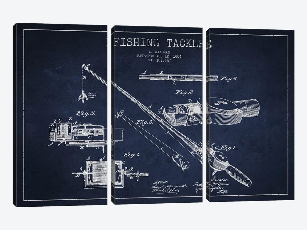 Fishing Tackle Navy Blue Patent Blueprint by Aged Pixel 3-piece Canvas Artwork