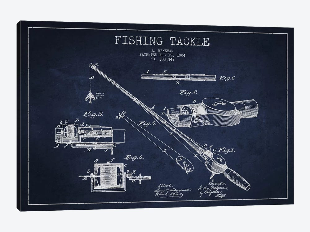 Fishing Tackle Navy Blue Patent Blueprint by Aged Pixel 1-piece Canvas Art
