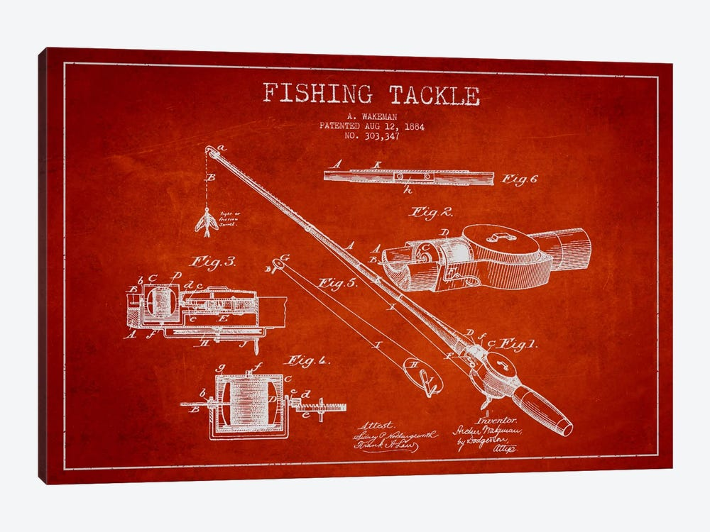 Fishing Tackle Red Patent Blueprint by Aged Pixel 1-piece Canvas Art Print