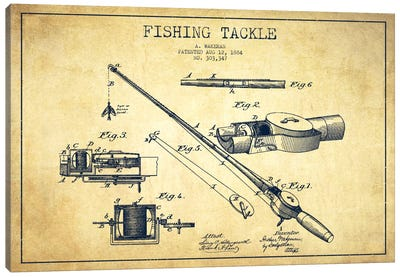 Fishing Tackle Vintage Patent Blueprint Canvas Art Print