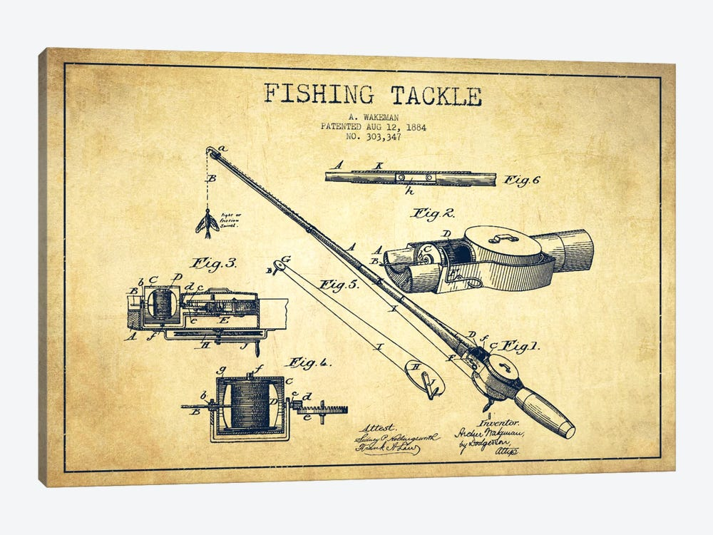 Fishing Tackle Vintage Patent Blueprint by Aged Pixel 1-piece Canvas Artwork
