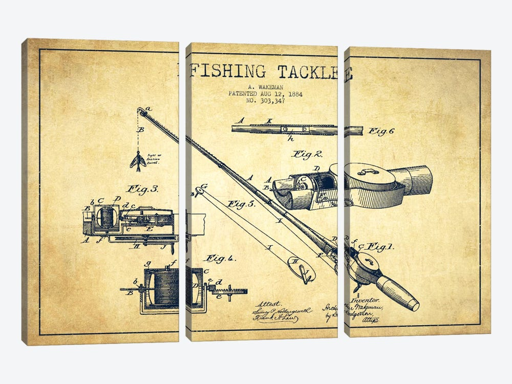 Fishing Tackle Vintage Patent Blueprint by Aged Pixel 3-piece Canvas Wall Art