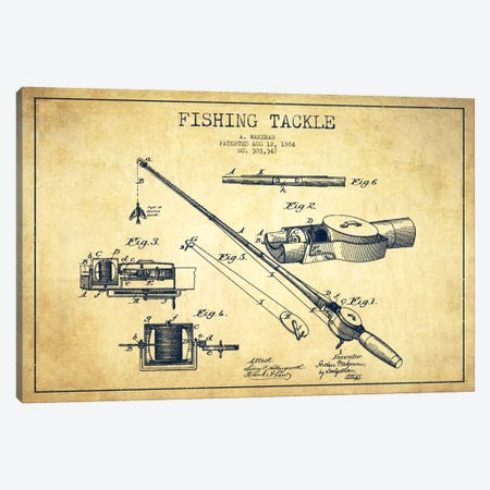 Fishing Tackle Vintage Patent Blueprint Canvas Print #ADP1198} by Aged Pixel Canvas Art