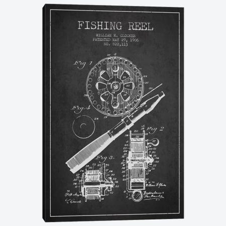 Fishing Reel Charcoal Patent Blueprint Canvas Print #ADP1199} by Aged Pixel Canvas Wall Art