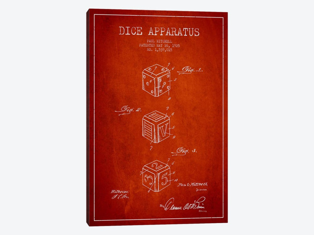 Dice Red Patent Blueprint by Aged Pixel 1-piece Canvas Artwork