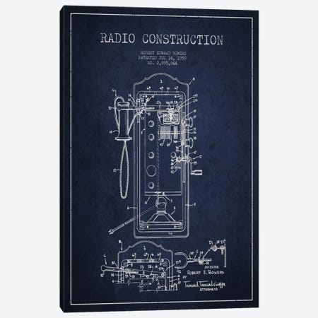 Bowers Radio Constru Blue Patent Blueprint Canvas Print #ADP11} by Aged Pixel Canvas Art Print