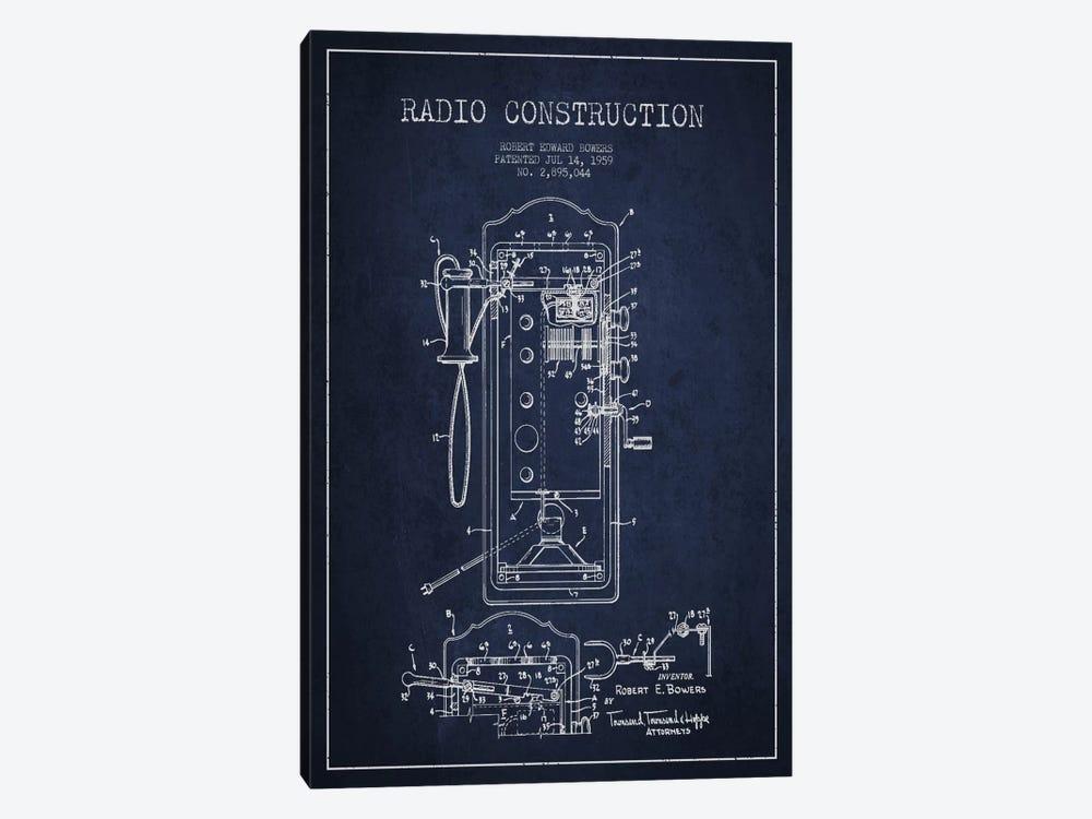 Bowers Radio Constru Blue Patent Blueprint by Aged Pixel 1-piece Art Print