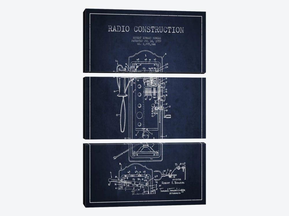 Bowers Radio Constru Blue Patent Blueprint by Aged Pixel 3-piece Art Print
