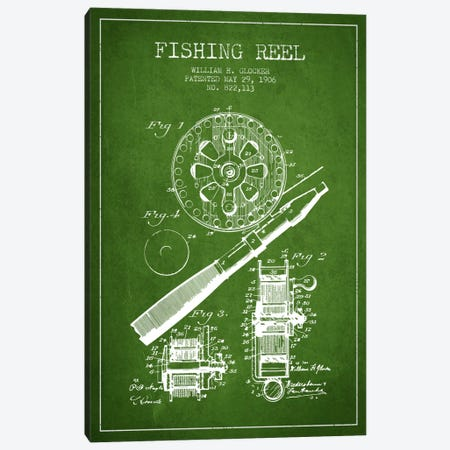 Fishing Reel Green Patent Blueprint Canvas Print #ADP1200} by Aged Pixel Canvas Art