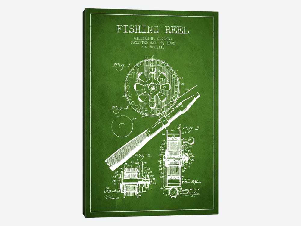 Fishing Reel Green Patent Blueprint by Aged Pixel 1-piece Canvas Art Print