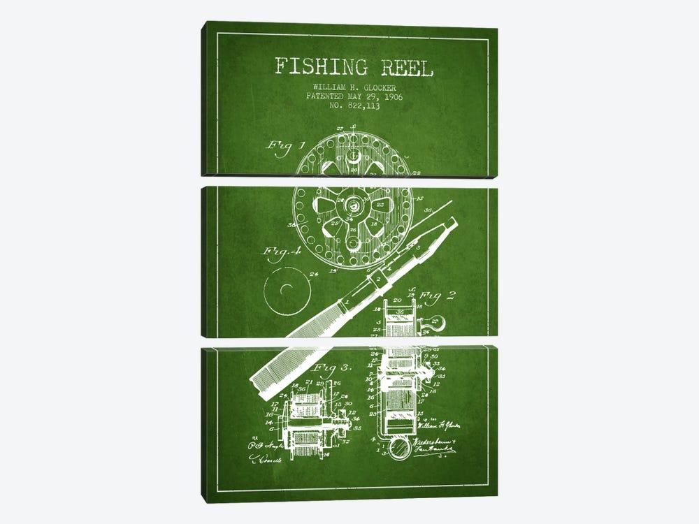 Fishing Reel Green Patent Blueprint by Aged Pixel 3-piece Art Print