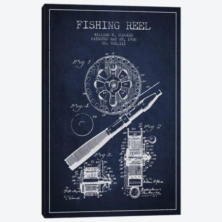 Fishing Reel Navy Blue Patent Blueprint Canvas Print #ADP1201} by Aged Pixel Canvas Artwork
