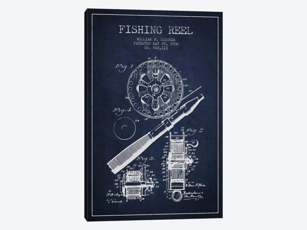Fishing Reel Navy Blue Patent Blueprint 1-piece Canvas Artwork