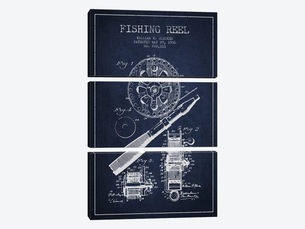 Fishing Reel Navy Blue Patent Blueprint by Aged Pixel 3-piece Canvas Wall Art