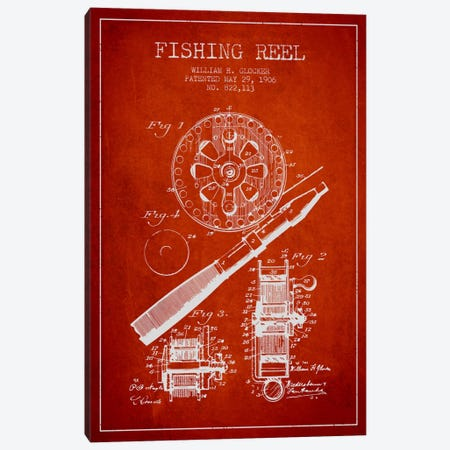 Fishing Reel Red Patent Blueprint Canvas Print #ADP1202} by Aged Pixel Canvas Artwork