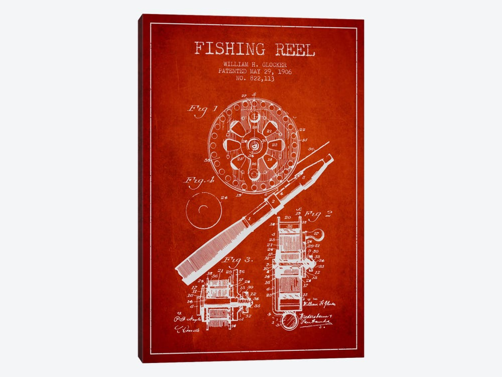 Fishing Reel Red Patent Blueprint by Aged Pixel 1-piece Art Print