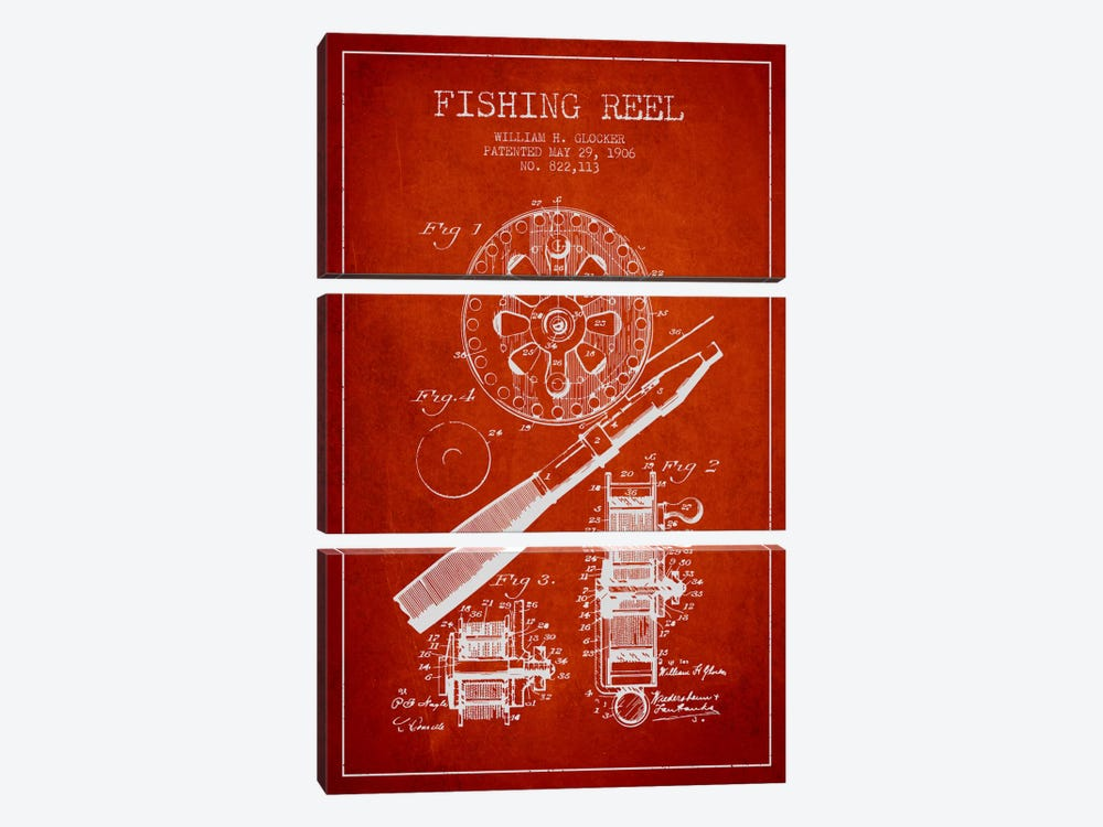 Fishing Reel Red Patent Blueprint by Aged Pixel 3-piece Canvas Print
